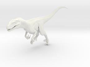Dinosaur Raptor 25 cm running V2 in White Natural Versatile Plastic