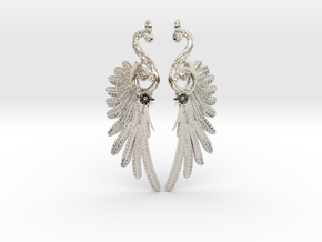 Imperial Wings of Sovereignty Earrings in Rhodium Plated Brass