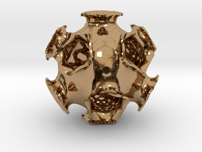 Icosahedral minimal surface 2 (solid, 2 in) in Polished Brass