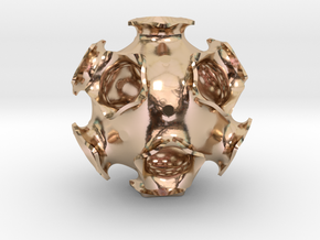 Icosahedral minimal surface 2 (solid, 2 in) in 14k Rose Gold Plated Brass