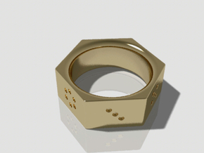 Dice Ring in Polished Bronzed Silver Steel