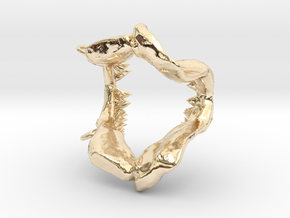 Great White Shark Jaw With Loop in 14k Gold Plated Brass