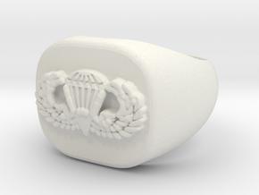 Basic Parachutist Badge Ring in White Natural Versatile Plastic