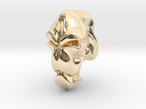 Skull-004 scale in 3cm Passed in 14k Gold Plated Brass