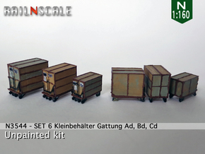 SET 6 Kleinbehälter (N 1:160) in Frosted Ultra Detail