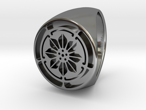 Custom Signet Ring 5 in Fine Detail Polished Silver