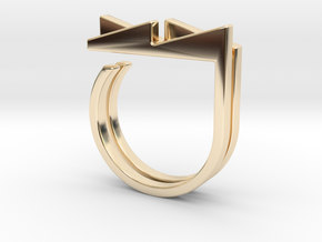Adjustable ring. Basic set 3. in 14k Gold Plated Brass