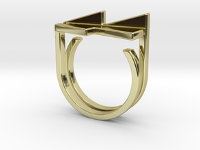 Adjustable ring. Basic set 7. in 18k Gold Plated Brass