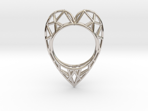 The  Heart ring size 7 1/2 US (17.75 mm) in Rhodium Plated Brass