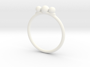 Tri Beaded Stacking Ring in White Processed Versatile Plastic