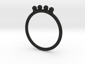 4 Bead Stacking Ring  in Black Acrylic