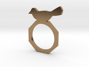 Sweet Bird Ring in Natural Brass