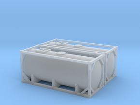N Scale 20ft Tank Container (2pc) in Smooth Fine Detail Plastic