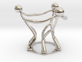stickman egg cup V2 in Rhodium Plated Brass