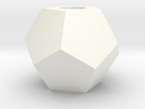 D12 Bead 9mm in White Processed Versatile Plastic