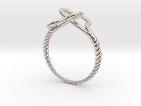 Locked Love Ring in Rhodium Plated Brass