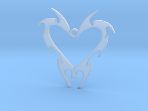Tribal Heart Charm in Smooth Fine Detail Plastic