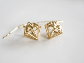 Diamond Earrings in Raw Brass