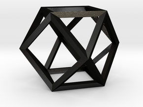 Cuboctahedron(Leonardo-style model) in Matte Black Steel