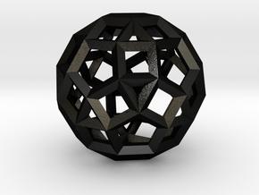 Rhombicosidodecahedron(Leonardo-style model) in Matte Black Steel