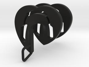 Headphones Heart Spiral Pendant in Black Natural Versatile Plastic