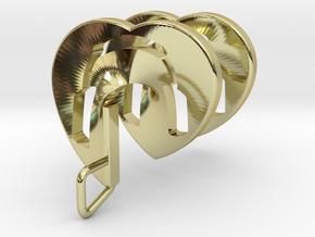 Headphones Heart Spiral Pendant in 18k Gold Plated Brass