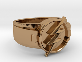 V2 Flash Ring Size 10.5, 20.20 mm in Polished Brass