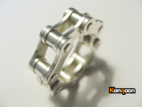 Violetta L. - Bicycle Chain Ring in Polished Silver: 9 / 59