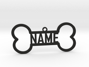 Your Name Bone Pendant in Black Natural Versatile Plastic