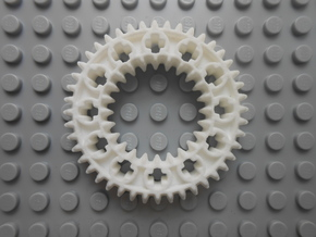 LEGO®-compatible z44 bevel gear w/ z24 inner ring in White Strong & Flexible