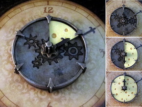 Cheese Wheel Clock (rotating) - Mice & Mystics in White Strong & Flexible