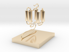 GPCR(3D With Stand) in 14k Gold Plated Brass