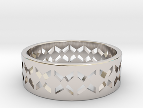 Inverse Echelon Ring Size 6 in Rhodium Plated Brass