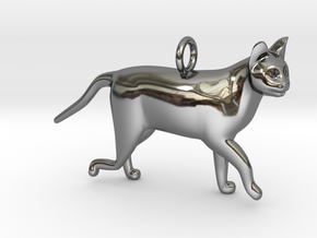 Cat in Fine Detail Polished Silver