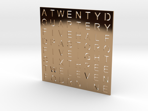 Timesquare Wordclock faceplate (Helvetica font) in Polished Brass