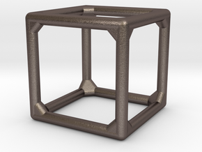 Unnumbered Cube in Polished Bronzed Silver Steel