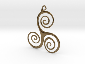 Three Waves Pendant in Polished Bronze