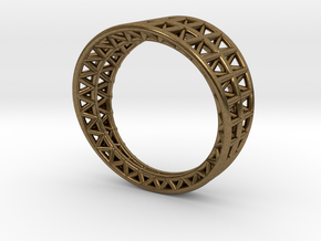Lattice Framework Modern Ring in Natural Bronze