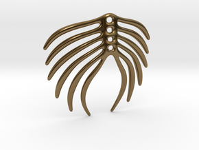 Abstract Feather Pendant in Polished Bronze