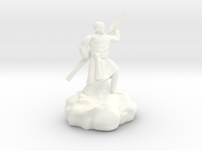 Halfling Ninja With Staff in White Processed Versatile Plastic