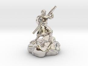 Hooded Halfling Ninja With Staff in Rhodium Plated Brass