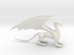 Dragon with wings in White Natural Versatile Plastic