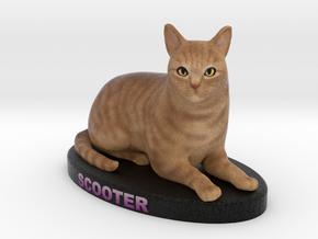 Customer Cat Figurine - Scooter in Full Color Sandstone