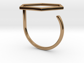 Hexagon ring shape. in Polished Brass