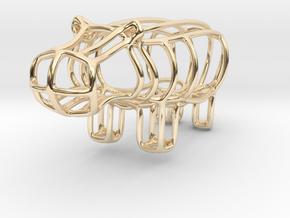 HIppo Bottle Opener Keychain in 14k Gold Plated Brass