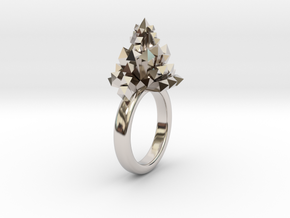 Crystal Ring 9.5 in Rhodium Plated Brass