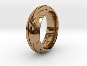 Motorcycle Tire Ring in Polished Brass: 9.5 / 60.25