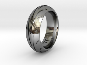 Motorcycle Tire Ring in Fine Detail Polished Silver: 10.5 / 62.75