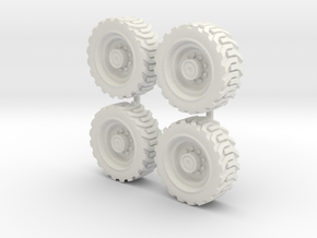 Tractor wheels  01. HO scale(1:87)   in White Natural Versatile Plastic