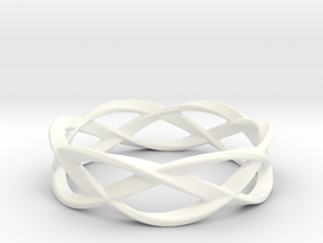 Weave Ring (Large) in White Processed Versatile Plastic